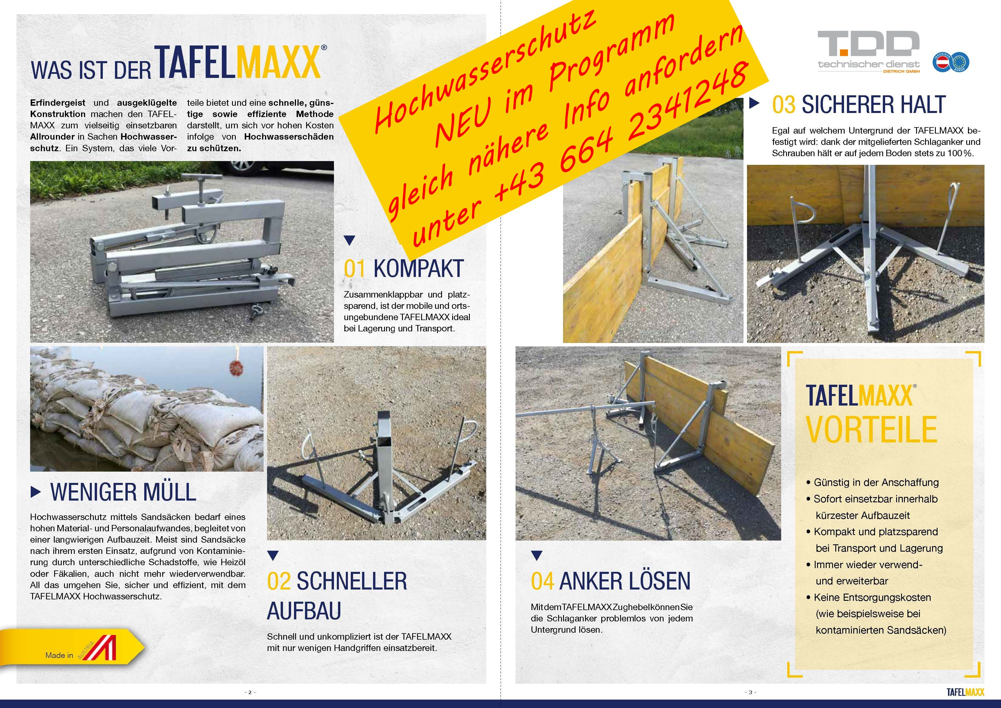 TAFELMAXX Hochwasserschutz